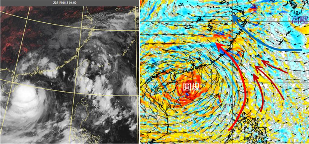 最新衛星雲圖(左圖)顯示,「圓規」外圍環流(原季風低壓環流)與太平洋高壓邊緣形成的雲帶,仍影響台灣天氣。最新歐洲(ECMWF)模式模擬今天8時700百帕風場圖(右圖),「圓規」外圍環流與太平洋高壓風場形成輻合帶,有利對流雲在其中消長。(翻攝自「三立準氣象· 老大洩天機」)